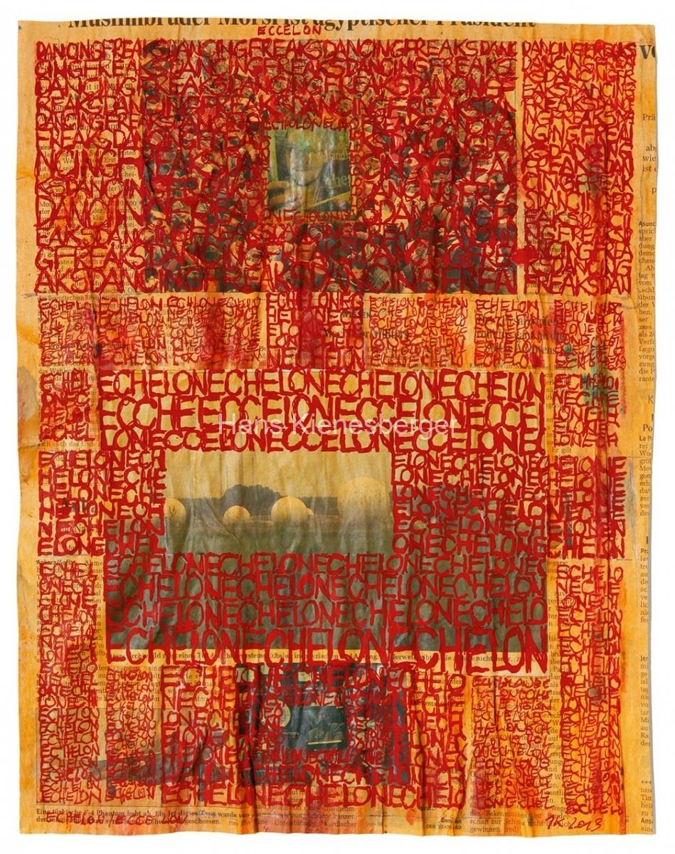 PREDATOR B, 2014, Collage auf Karton, Acryl, Tusche, 44 x 57 cm