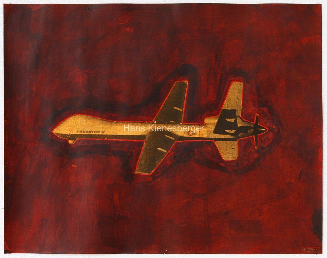 Echelon (NSA), 2013, Eitempera, Acryl auf Zeitungspapier, 38 x 29 cm