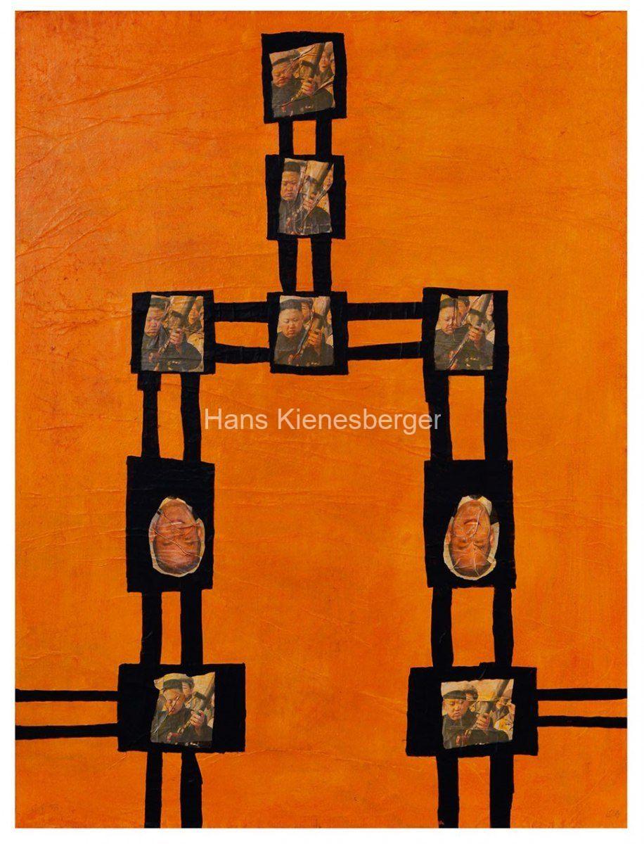 Im Preis-Paradies, 2013   Bildobjekt, Tafel aus fünfteiligem Objekt: Hartfaserplatte auf Holz, Zeitungspapier, Acryl, 100 x 150 cm x 3 cm
